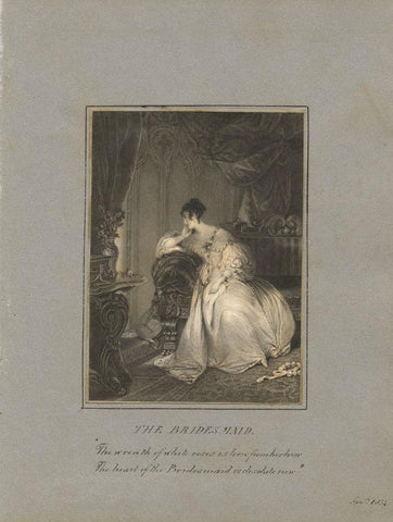 The Bridesmaid Engraving with Poem Couplet by J.M. Colekin - 1834