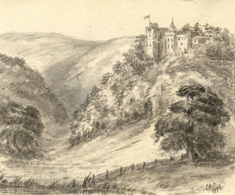 C.A. Collis, Dunster Castle Amongst Trees, Minehead - Original 1896 Watercolour