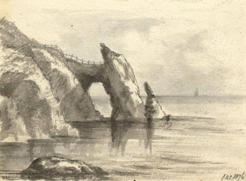 C.A. Collis, London Bridge Rock Formation, Torquay - Original 1876 Watercolour