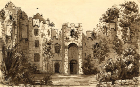C.A. Collis, Compton Castle, Torquay Devon - Original 19th-century Watercolour