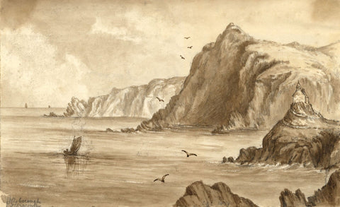 C.A. Collis, St Nicholas Chapel, Ilfracombe Harbour - Original 1859 Watercolour