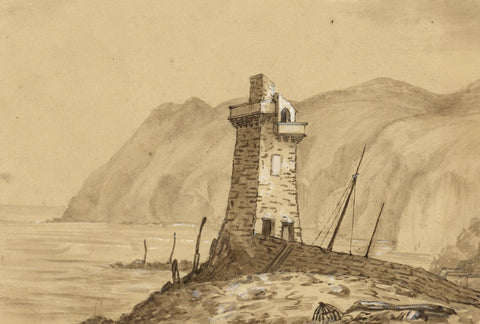C.A. Collis, Rhenish Tower, Lynmouth Devon - Original 19th-century Watercolour