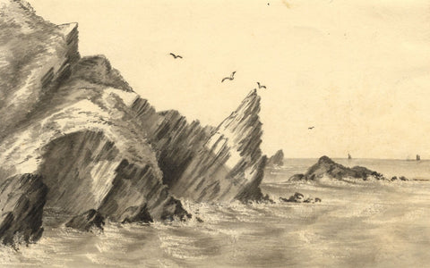 C.A. Collis, Hele Beach Rocks, Ilfracombe Devon - mid-19th-century Watercolour