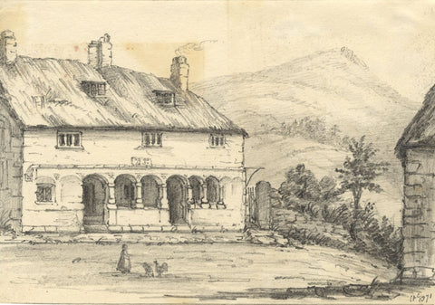 C.A. Collis, Alm's Houses, Moreton Hampstead Devon - Original 1871 Graphite