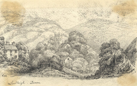 C.A. Collis, Bovey Tracey Church, Lustleigh Devon - Original 1868 Graphite