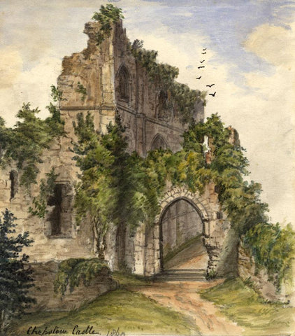 C.A. Collis, Chepstow Castle, Monmouthshire Wales - Original 1860 Watercolour