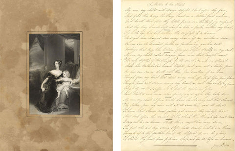 Copperplate Poetry 1833, A Mother to her Child with Engraving Print