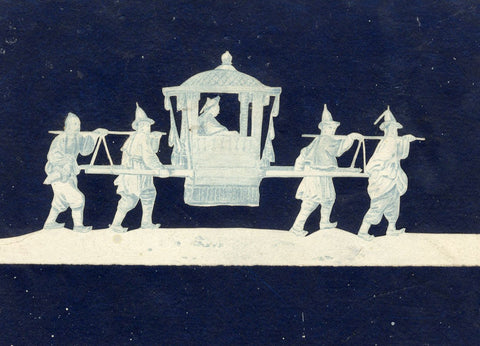 Chinese Sedan Chair Scene - Original 19th-century paper cut and etching print