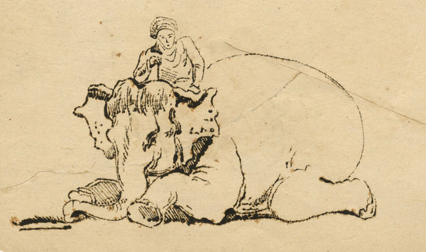 Indian Elephant Kneeling with Rider - Original early 19th-century etching print