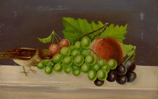 English Naive School, Still Life with Grapes & Bird - 19th-century oil painting