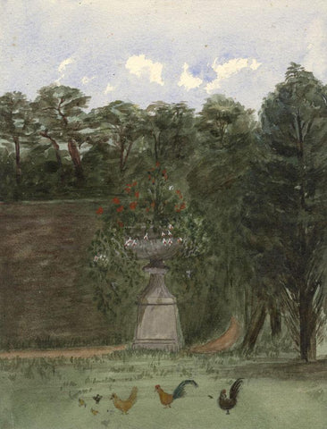Garden Urn with Roosters, Ham Lodge - Original 19th-century watercolour painting