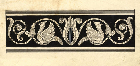 Classical Frieze Design with Birds & Harp - Early 19th-century pen & ink drawing