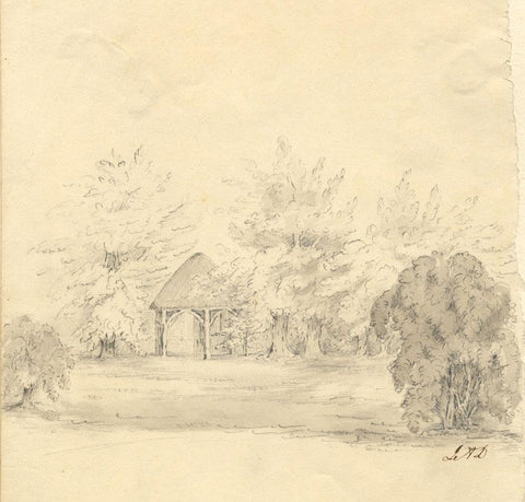 L.A.L., Pheasant House, Hormead - Original 19th-century graphite drawing