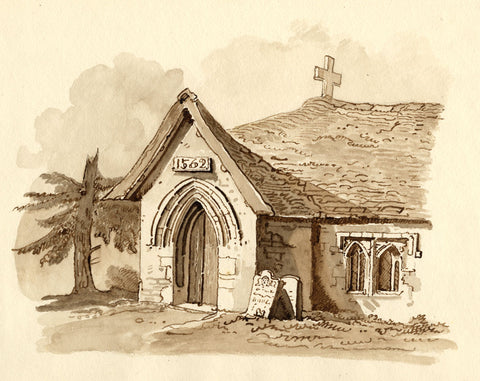 Rural Church, 1562 in Sepia - Original early 19th-century watercolour painting