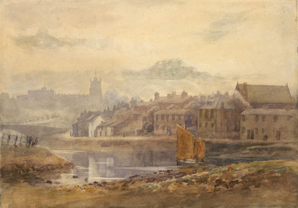 Lancaster Castle from the River Lune - Original 1896 watercolour painting