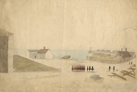 British Grenadiers at Coastal Town - Mid-18th-century watercolour painting