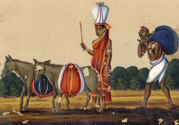 Company School 19th-century Indian Mica Painting in Gouache, Washerman to River