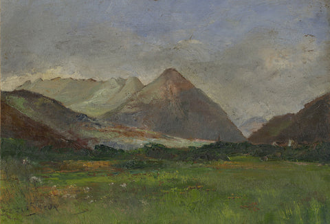 Henry Levasseur, French Alpine View with Meadow -Early 20th-century oil painting