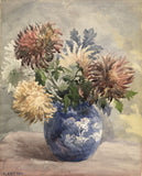 F.J. Catton, Chrysanthemums in Blue & White Vase -Early 20th-century watercolour