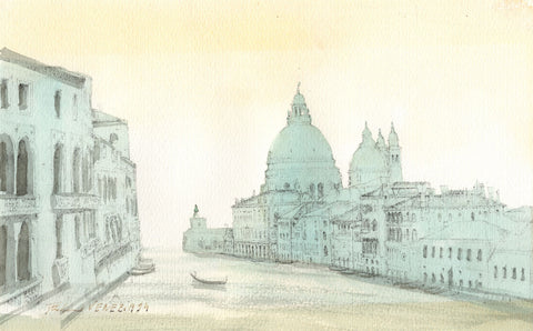 Venice from the Water - 1994 etching and watercolour painting