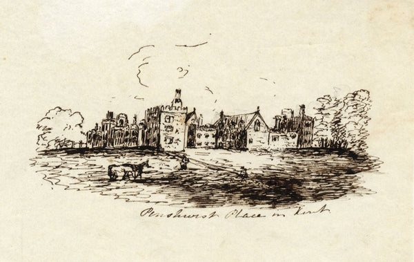 M.M.A.B., Penshurst Place, Kent - Original mid-19th-century pen & ink drawing