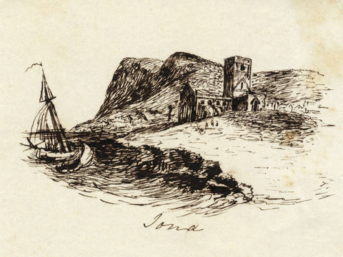 M.M.A.B., Iona Abbey, Isle of Iona, Scotland -Mid-19th-century pen & ink drawing