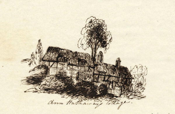 M.M.A.B., Anne Hathaway's Cottage - Original mid-19th-century pen & ink drawing