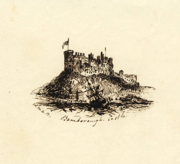 M.M.A.B., Bamburgh Castle - Original mid-19th-century pen & ink drawing