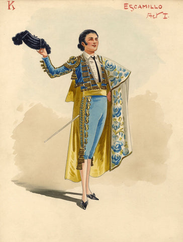 Attilio Comelli, Original Costume Design for 'Carmen' 1903: Matador Escamillo