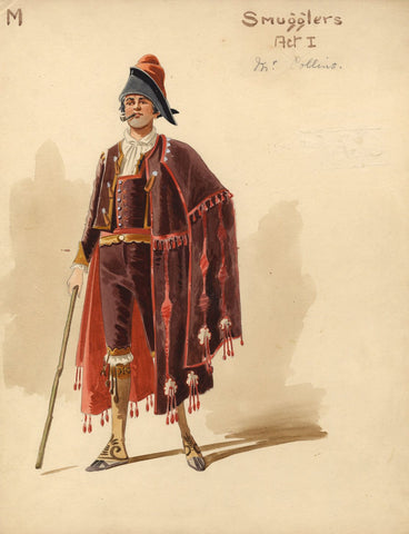 Attilio Comelli, Original Costume Design for 'Carmen' 1903: Spanish Smuggler