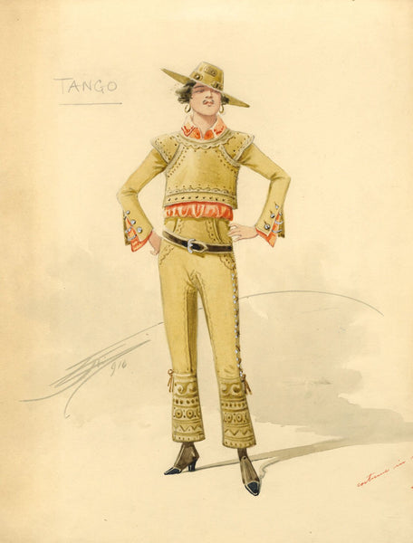 Attilio Comelli, Original Costume Design for 'Flying Colours' 1916: Tango Dancer