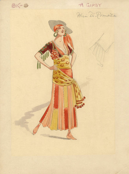 Costumier after Attilio Comelli, Costume Design for 'Flying Colours' 1916: Gipsy