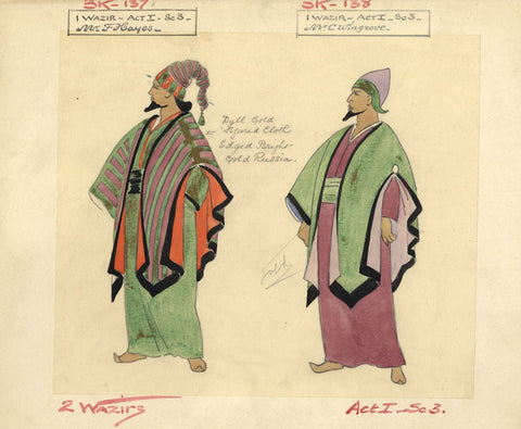 Costumier after Percy Anderson, Costume Design for 'Cairo' 1921: Two Wazirs