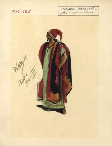Percy Anderson, Original Costume Design for 'Cairo' 1921: Wazir Al Khasib