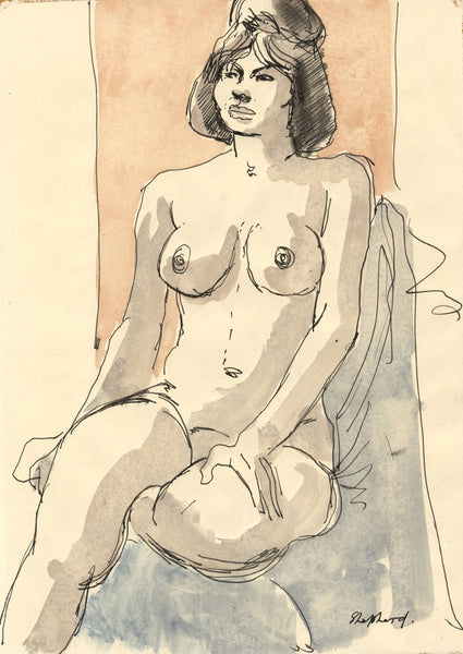 Sidney Horne Shepherd, Seated Female Nude -Mid-20th-century watercolour painting
