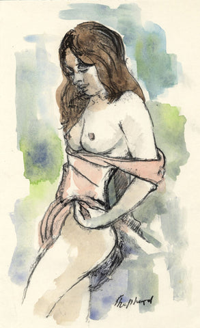 Sidney Horne Shepherd, Standing Female Nude - Mid-C20th watercolour painting