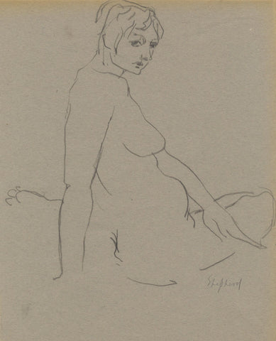 Sidney Horne Shepherd, Seated Female Nude - Mid-20th-century graphite drawing