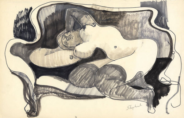 Sidney Horne Shepherd, Reclining Female Nude & Sofa,Mid-20th-century ink drawing