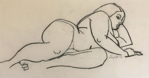 Sidney Horne Shepherd, Reclining Female Nude - Mid-20th-century charcoal drawing