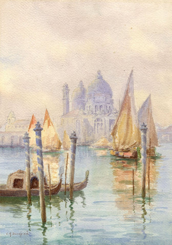 Clifford George Blampied, Grand Canal, Venice - Early C20th watercolour painting