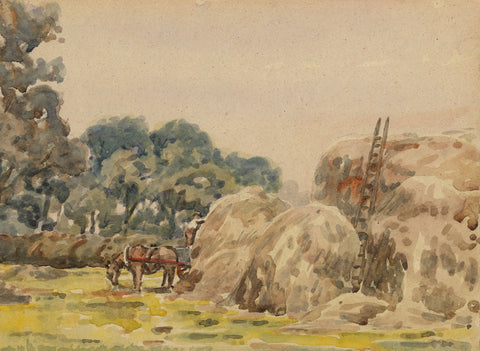 Arthur Simpson, Hay Stacks, Thorntree Farm, Bushby - 1930s watercolour painting
