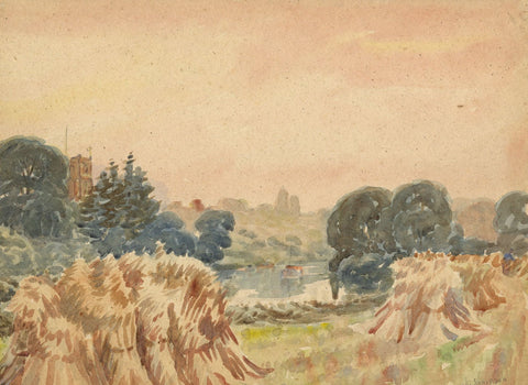 Arthur Simpson, Corn Stooks, River Tee, Thornaby - 1930s watercolour painting