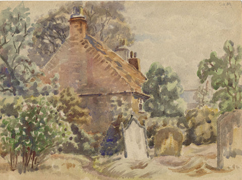 Arthur Simpson, St Peter's Churchyard, Thornaby - 1930s watercolour painting