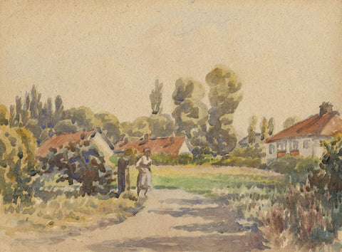 Arthur Simpson, Thornaby Village Green - Original 1930s watercolour painting