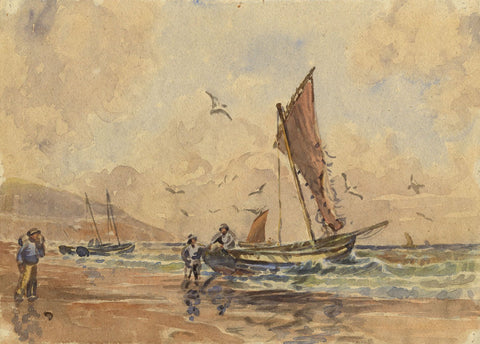 Arthur Simpson, Fishing Boats, Whitby Coast -Original 1930s watercolour painting