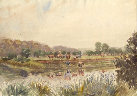 Arthur Simpson, Cows at River Bed, River Tees - 1930s watercolour painting