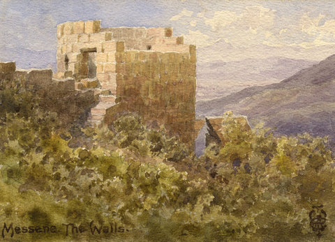 Sir Edgar Thomas Wigram, Walls of Messene, Greece - Early C20th watercolour