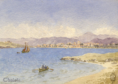 Sir Edgar Thomas Wigram, Bay of Chalcis Greece -Early C20th watercolour painting
