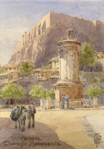 Sir Edgar Thomas Wigram, Monument of Lysicrates, Athens -Early C20th watercolour