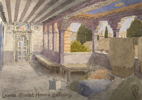 Sir Edgar Thomas Wigram, Lavra Guest House Balcony, Greece -Early C20th watercolour